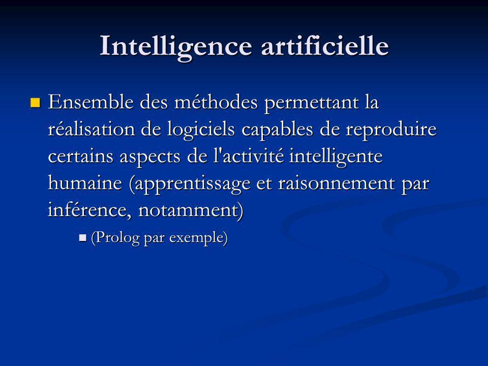 Intelligence artificielle Ensemble des méthodes permettant la réalisation de logiciels capables de reproduire certains aspects de l'activité intellige