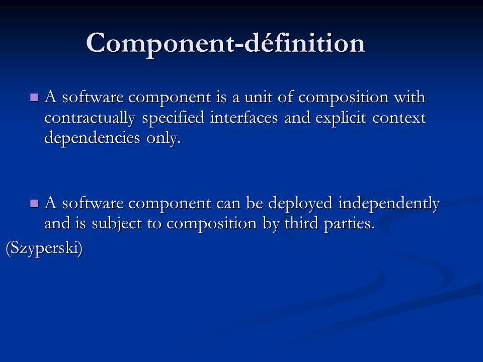 Component-définition A software component is a unit of composition with contractually specified interfaces and explicit context dependencies only. A s