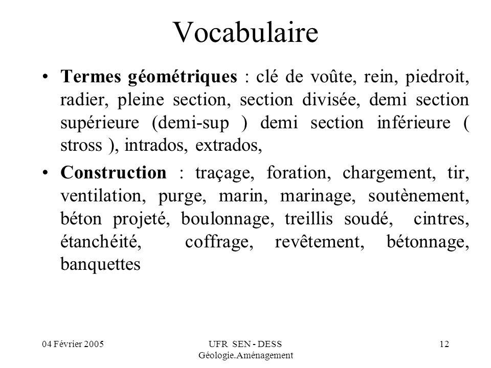 04 Février 2005UFR SEN - DESS Géologie.Aménagement 12 Vocabulaire Termes géométriques : clé de voûte, rein, piedroit, radier, pleine section, section