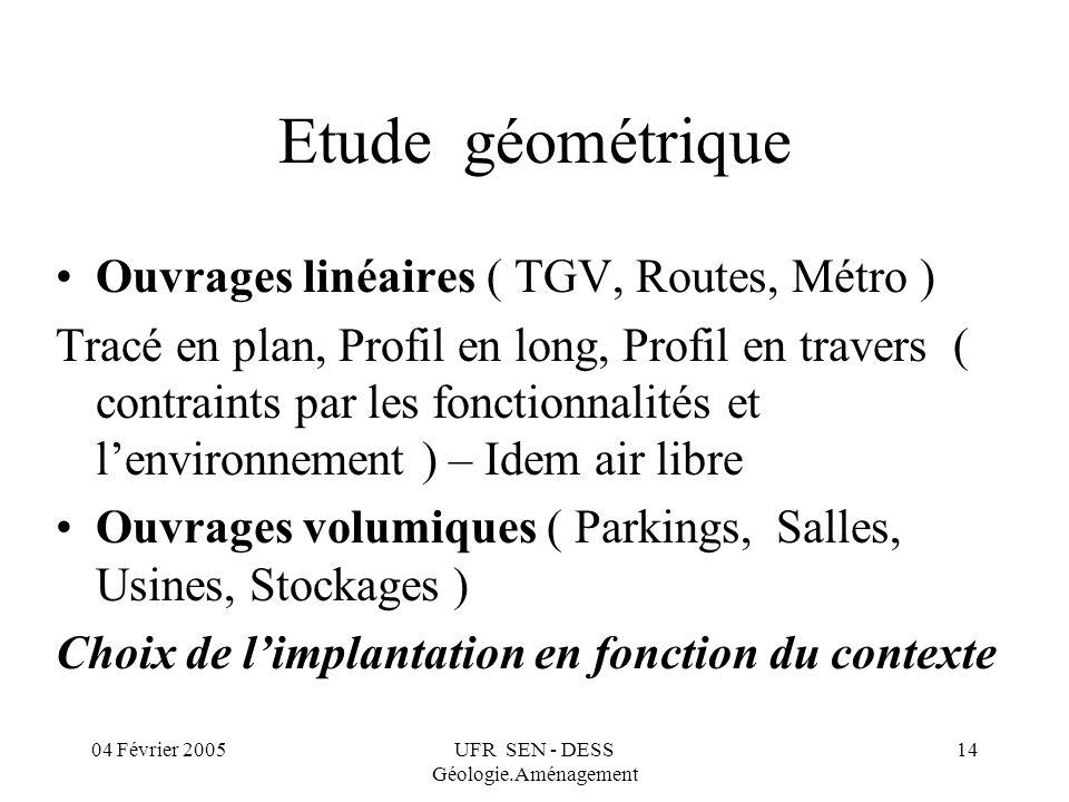 04 Février 2005UFR SEN - DESS Géologie.Aménagement 14 Etude géométrique Ouvrages linéaires ( TGV, Routes, Métro ) Tracé en plan, Profil en long, Profi