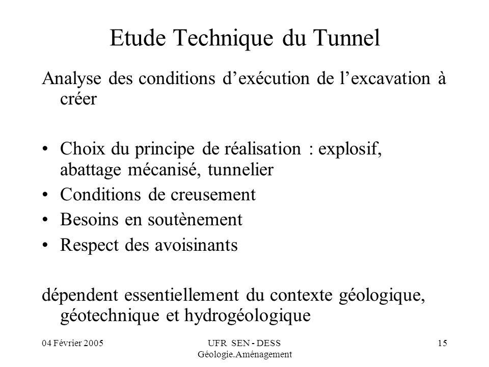 04 Février 2005UFR SEN - DESS Géologie.Aménagement 15 Etude Technique du Tunnel Analyse des conditions dexécution de lexcavation à créer Choix du prin