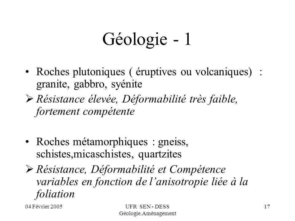 04 Février 2005UFR SEN - DESS Géologie.Aménagement 17 Géologie - 1 Roches plutoniques ( éruptives ou volcaniques) : granite, gabbro, syénite Résistanc