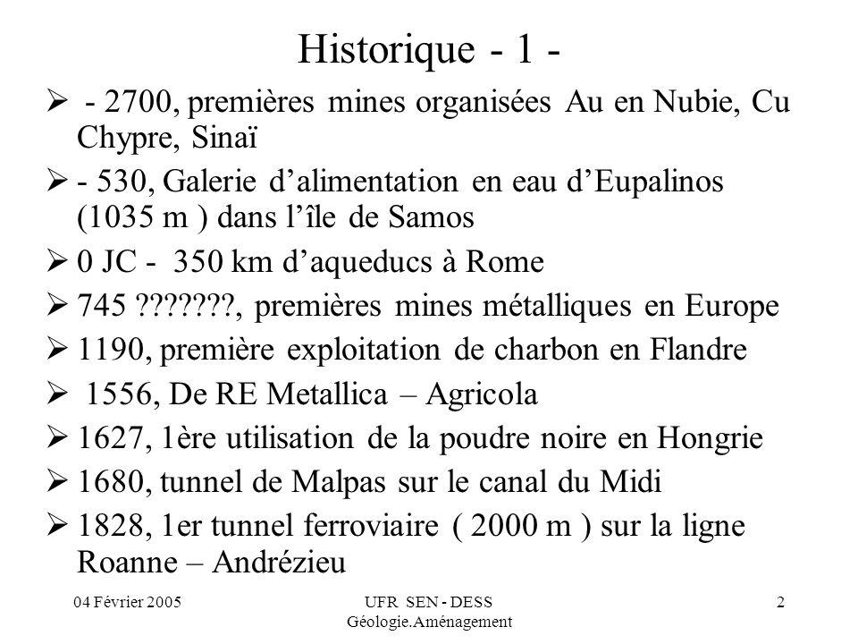 04 Février 2005UFR SEN - DESS Géologie.Aménagement 2 Historique - 1 - - 2700, premières mines organisées Au en Nubie, Cu Chypre, Sinaï - 530, Galerie