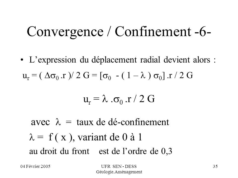 04 Février 2005UFR SEN - DESS Géologie.Aménagement 35 Convergence / Confinement -6- Lexpression du déplacement radial devient alors : u r = ( 0.r )/ 2