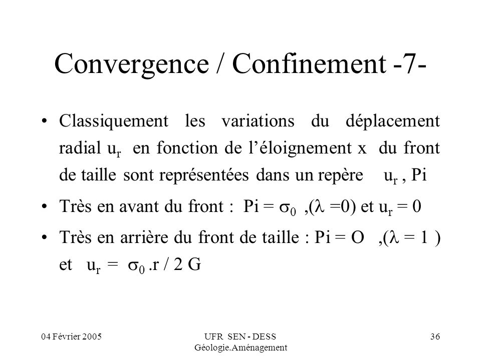04 Février 2005UFR SEN - DESS Géologie.Aménagement 36 Convergence / Confinement -7- Classiquement les variations du déplacement radial u r en fonction