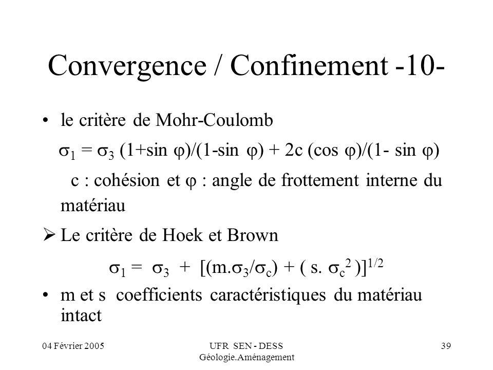 04 Février 2005UFR SEN - DESS Géologie.Aménagement 39 Convergence / Confinement -10- le critère de Mohr-Coulomb 1 = 3 (1+sin )/(1-sin ) + c (cos )/(1-