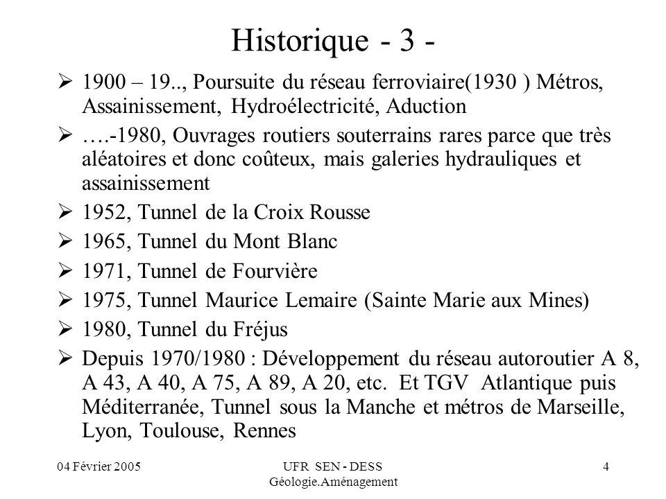 04 Février 2005UFR SEN - DESS Géologie.Aménagement 4 Historique - 3 - 1900 – 19.., Poursuite du réseau ferroviaire(1930 ) Métros, Assainissement, Hydr