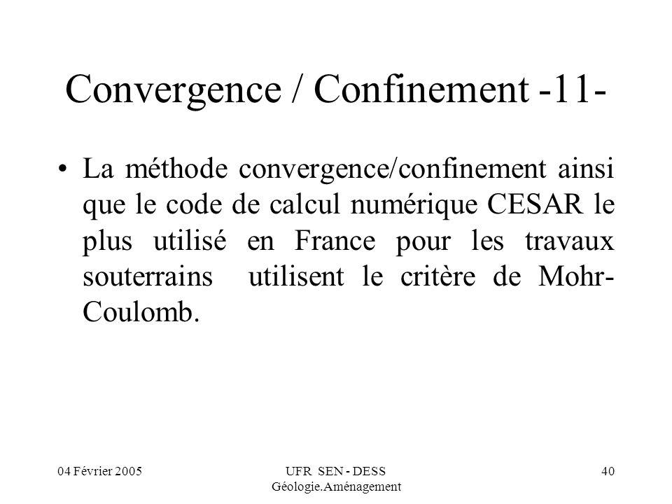 04 Février 2005UFR SEN - DESS Géologie.Aménagement 40 Convergence / Confinement -11- La méthode convergence/confinement ainsi que le code de calcul nu