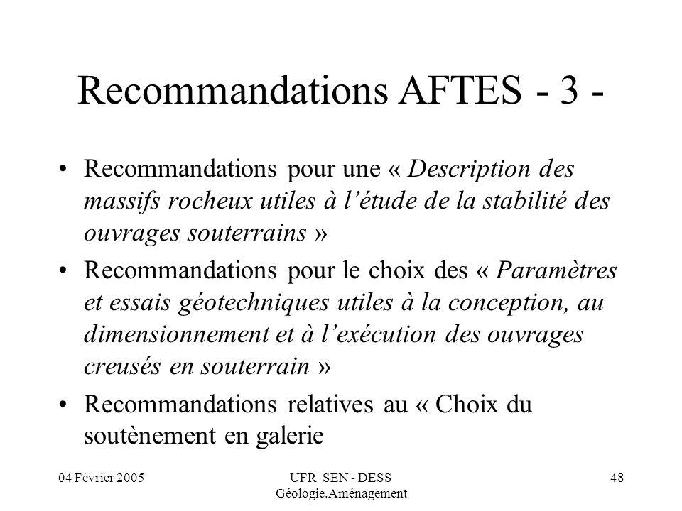 04 Février 2005UFR SEN - DESS Géologie.Aménagement 48 Recommandations AFTES - 3 - Recommandations pour une « Description des massifs rocheux utiles à