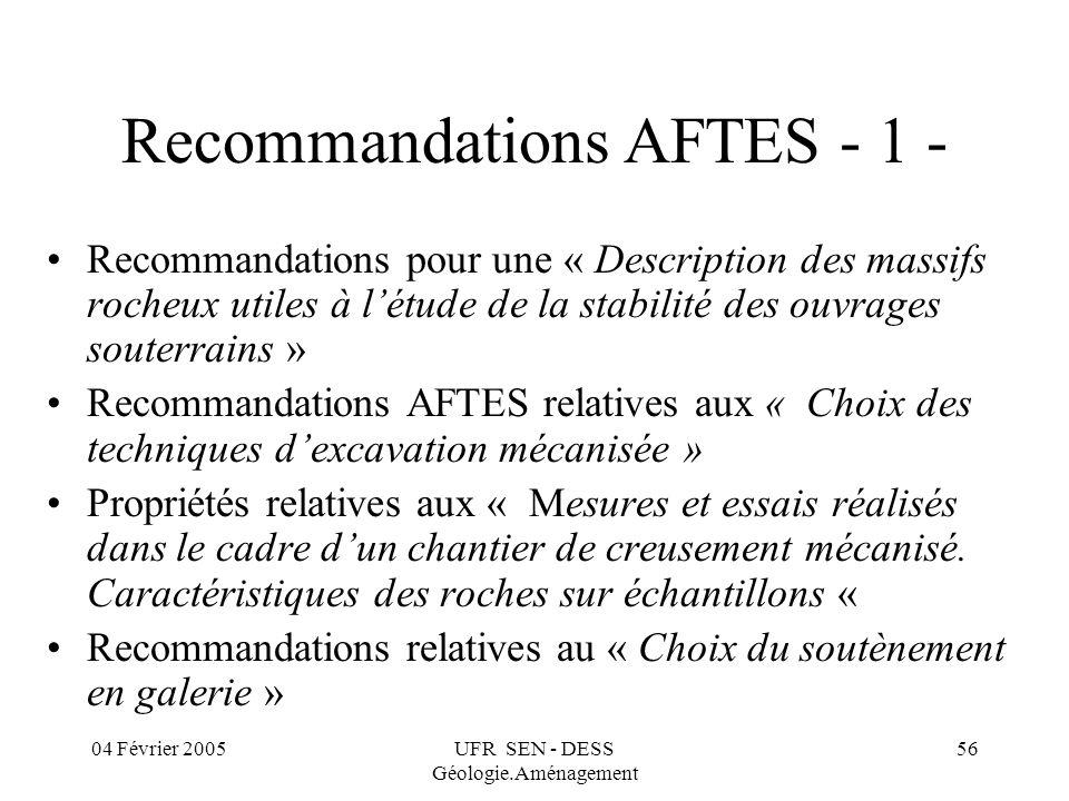 04 Février 2005UFR SEN - DESS Géologie.Aménagement 56 Recommandations AFTES - 1 - Recommandations pour une « Description des massifs rocheux utiles à