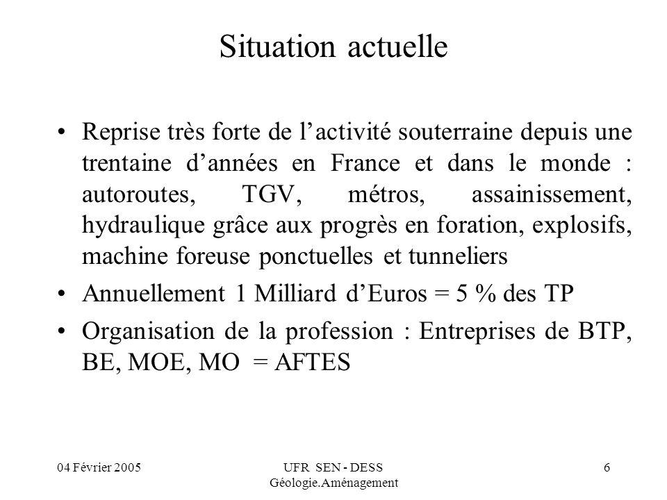 04 Février 2005UFR SEN - DESS Géologie.Aménagement 7 AFTES Association Française des Travaux En Souterrain Edite une revue technique T.O.S.