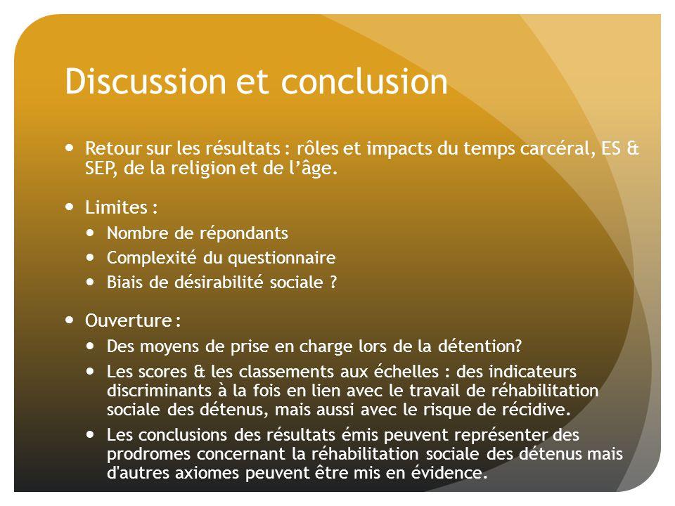Discussion et conclusion Retour sur les résultats : rôles et impacts du temps carcéral, ES & SEP, de la religion et de lâge.