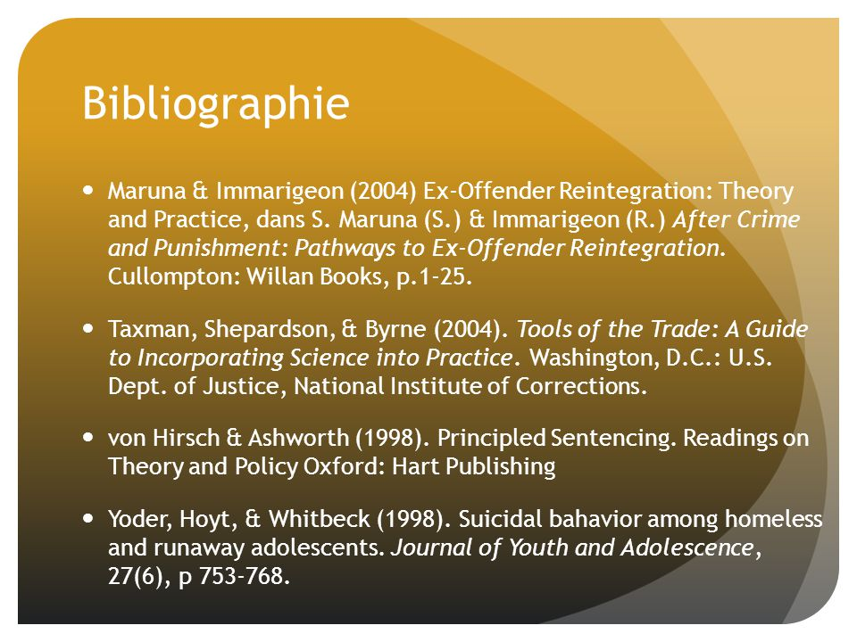 Bibliographie Maruna & Immarigeon (2004) Ex-Offender Reintegration: Theory and Practice, dans S. Maruna (S.) & Immarigeon (R.) After Crime and Punishm