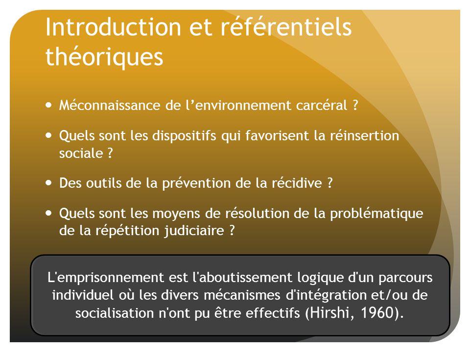 Introduction et référentiels théoriques Méconnaissance de lenvironnement carcéral .