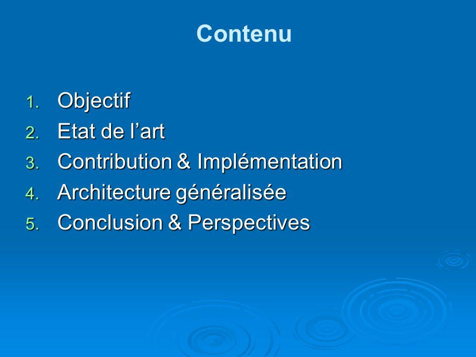 Contenu 1.Objectif 2. Etat de lart 3. Contribution & Implémentation 4.