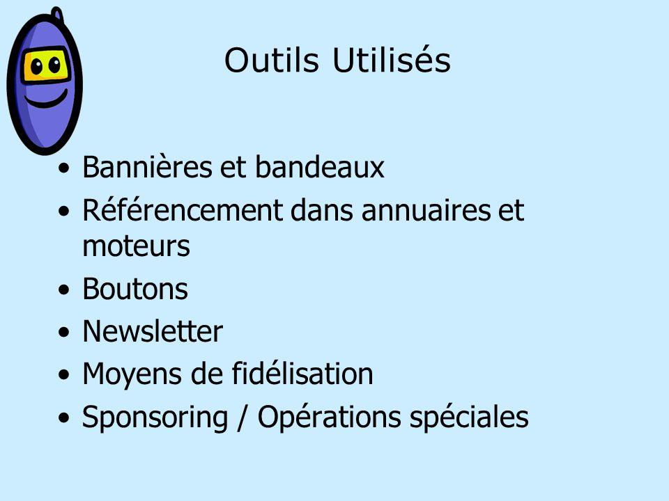 Outils Utilisés Bannières et bandeaux Référencement dans annuaires et moteurs Boutons Newsletter Moyens de fidélisation Sponsoring / Opérations spéciales