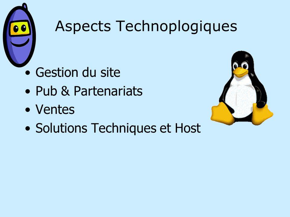 Aspects Technoplogiques Gestion du site Pub & Partenariats Ventes Solutions Techniques et Host