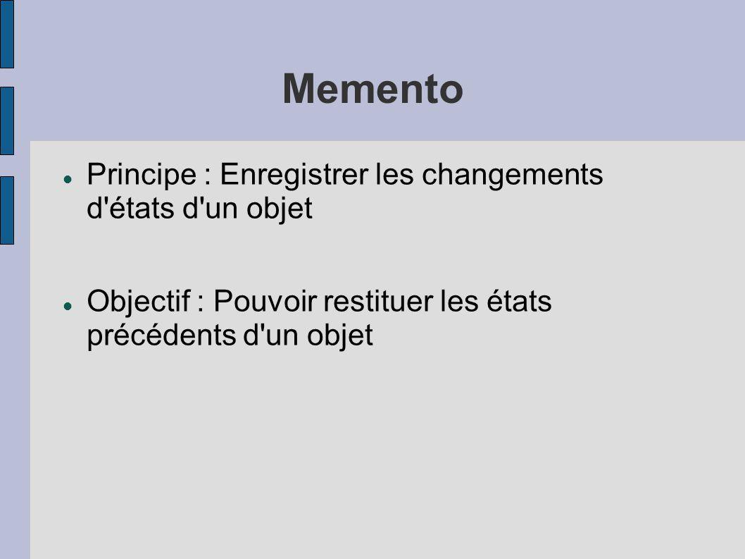 Principe : Enregistrer les changements d états d un objet Objectif : Pouvoir restituer les états précédents d un objet