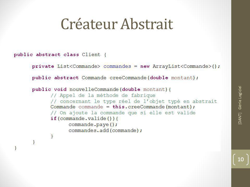 Créateur Abstrait [DANT] Génie Logiciel 10
