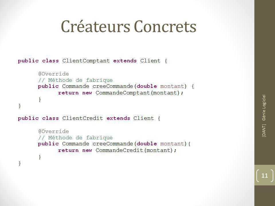 Créateurs Concrets [DANT] Génie Logiciel 11
