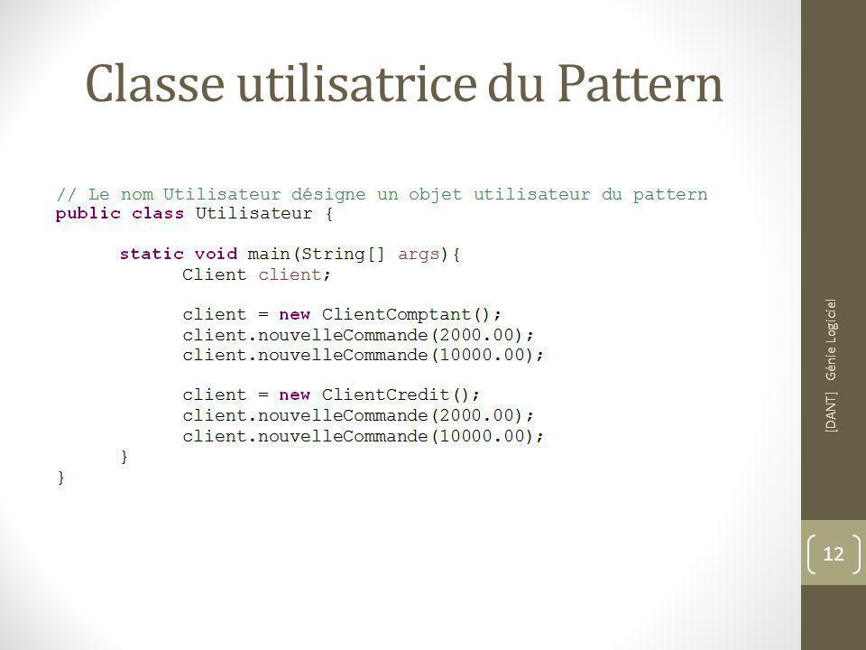Classe utilisatrice du Pattern [DANT] Génie Logiciel 12