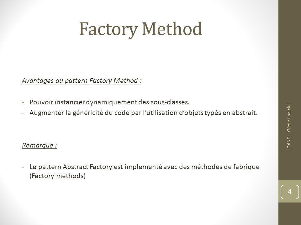 Factory Method Avantages du pattern Factory Method : -Pouvoir instancier dynamiquement des sous-classes.
