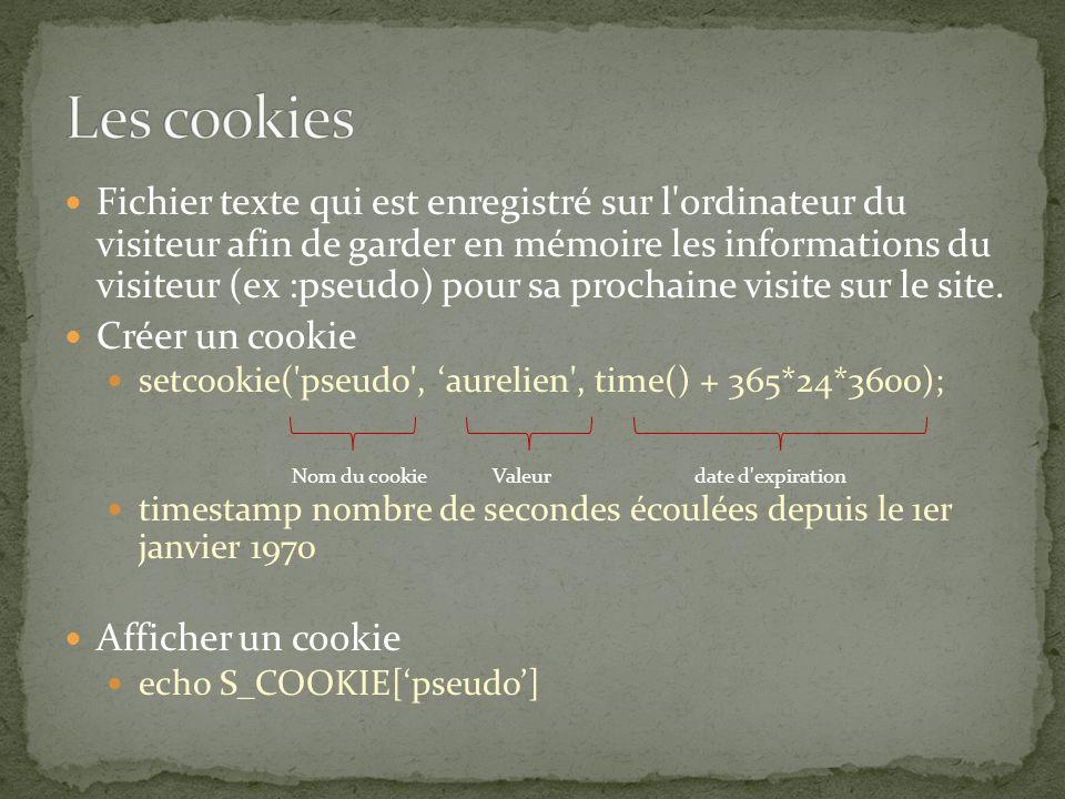Fichier texte qui est enregistré sur l ordinateur du visiteur afin de garder en mémoire les informations du visiteur (ex :pseudo) pour sa prochaine visite sur le site.