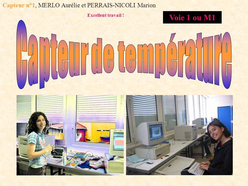 Capteur n°1, MERLO Aurélie et PERRAIS-NICOLI Marion Excellent travail ! Voie 1 ou M1