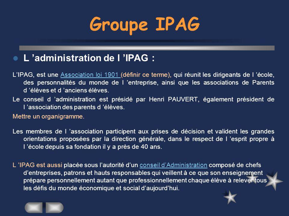 Groupe IPAG L organisation pédagogique : La pédagogie au sein de l IPAG s articule autour d objectifs clairement définis pour chaque période d études ou de stages.