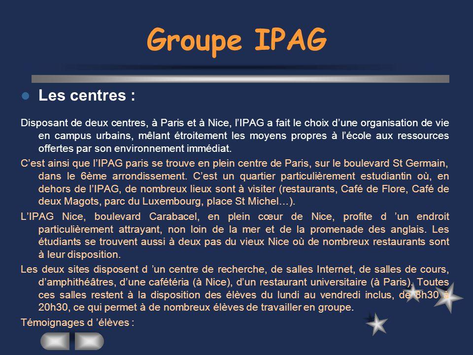 Carrières Le réseau IPAG, un même esprit, une même dynamique : En 2001, près de 40% des jeunes diplômés ont trouvé leur premier emploi grâce au réseau IPAG.