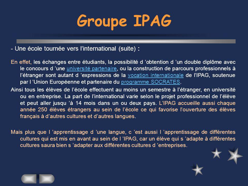 Groupe IPAG - Le développement d un projet professionnel : « Sengager pour réussir ».