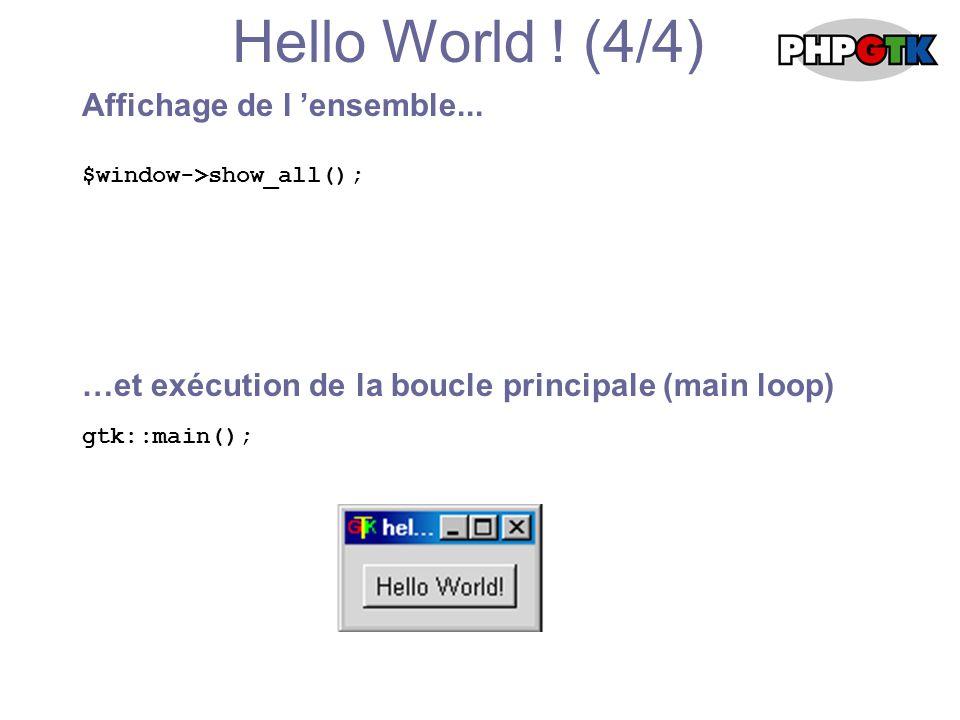 En savoir plus Avancement du projet PHP GTK Version 0.1.1 (24/09/2001) Encore au stade de développement Nous avons besoin de vous !!.