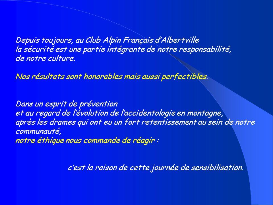 Depuis toujours, au Club Alpin Français dAlbertville la sécurité est une partie intégrante de notre responsabilité, de notre culture. Nos résultats so