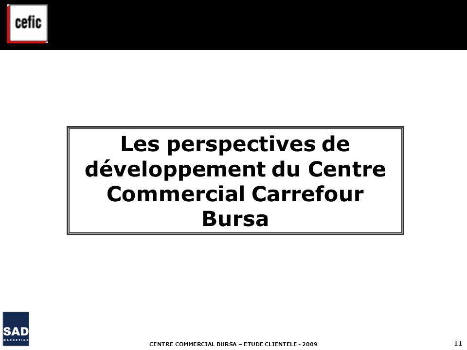 CENTRE COMMERCIAL BURSA – ETUDE CLIENTELE - 2009 11 Les perspectives de développement du Centre Commercial Carrefour Bursa