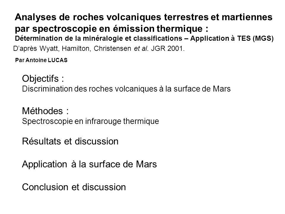 Analyses de roches volcaniques terrestres et martiennes par spectroscopie en émission thermique : Détermination de la minéralogie et classifications –