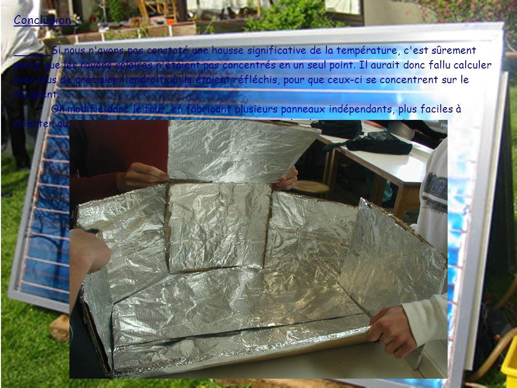 Conclusion : Si nous n avons pas constaté une hausse significative de la température, c est sûrement parce que les rayons solaires n étaient pas concentrés en un seul point.