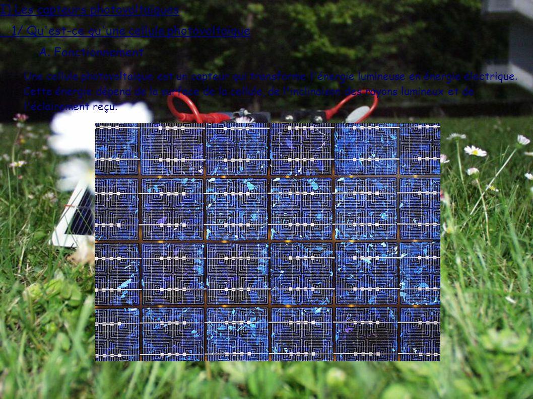 1/ Qu est-ce qu une cellule photovoltaïque I) Les capteurs photovoltaïques A.
