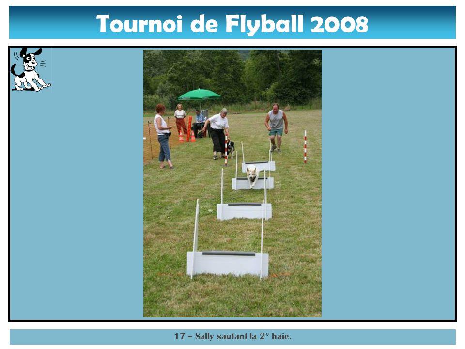 Tournoi de Flyball 2008 16 – Sally abordant la 2° haie.