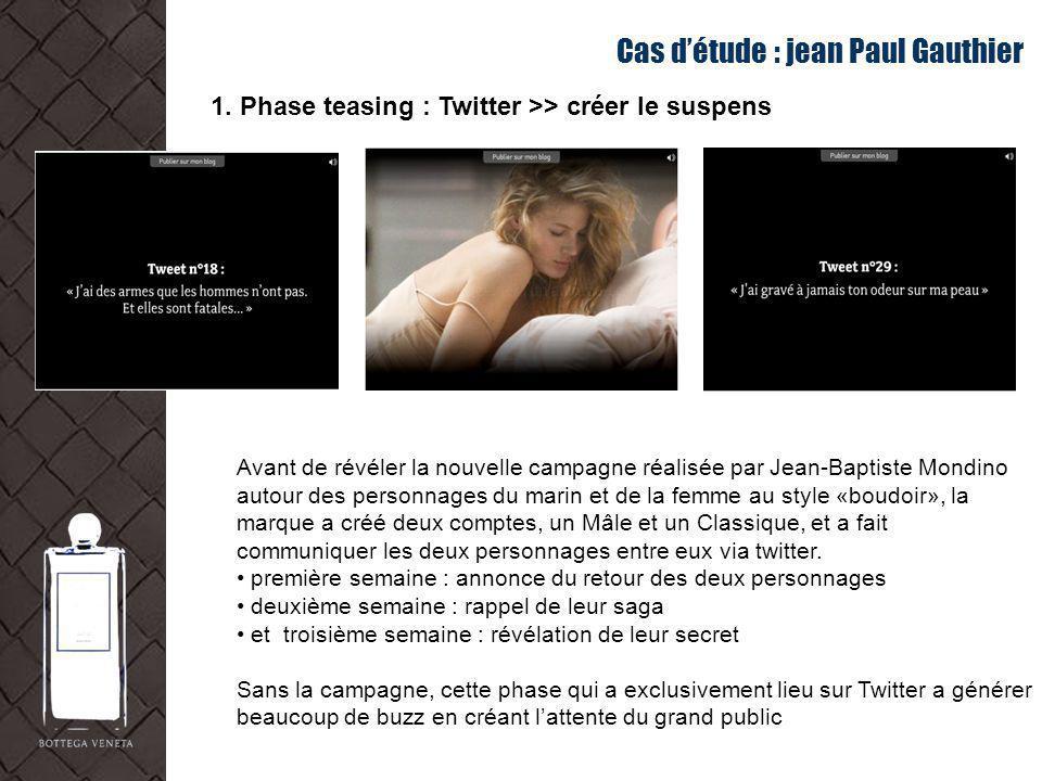 Cas détude : jean Paul Gauthier 1. Phase teasing : Twitter >> créer le suspens Avant de révéler la nouvelle campagne réalisée par Jean-Baptiste Mondin