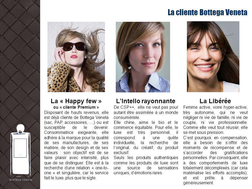La cliente Bottega Veneta La « Happy few » ou « cliente Premium » Disposant de hauts revenus, elle est déjà cliente de Bottega Veneta (sac, PAP, acces