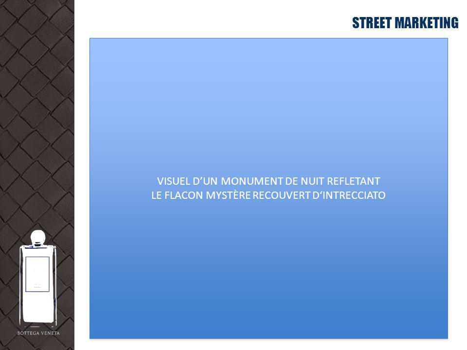 STREET MARKETING VISUEL DUN MONUMENT DE NUIT REFLETANT LE FLACON MYSTÈRE RECOUVERT DINTRECCIATO VISUEL DUN MONUMENT DE NUIT REFLETANT LE FLACON MYSTÈR