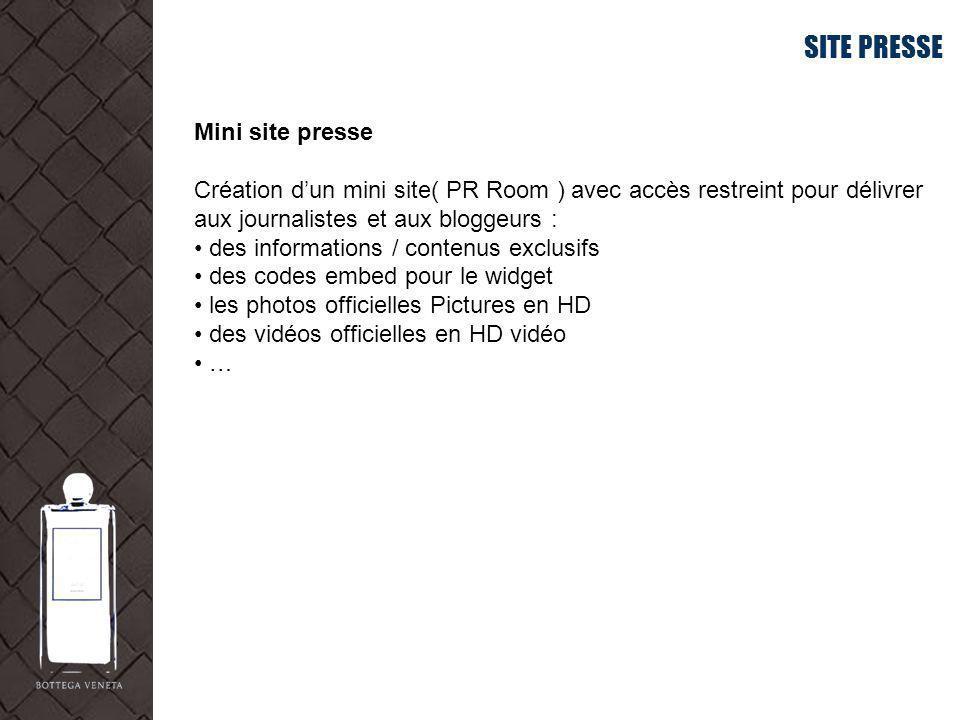 SITE PRESSE Mini site presse Création dun mini site( PR Room ) avec accès restreint pour délivrer aux journalistes et aux bloggeurs : des informations