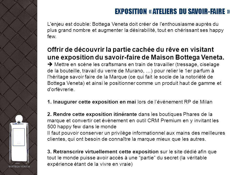 EXPOSITION « ATELIERS DU SAVOIR-FAIRE » L'enjeu est double: Bottega Veneta doit créer de l'enthousiasme auprès du plus grand nombre et augmenter la dé