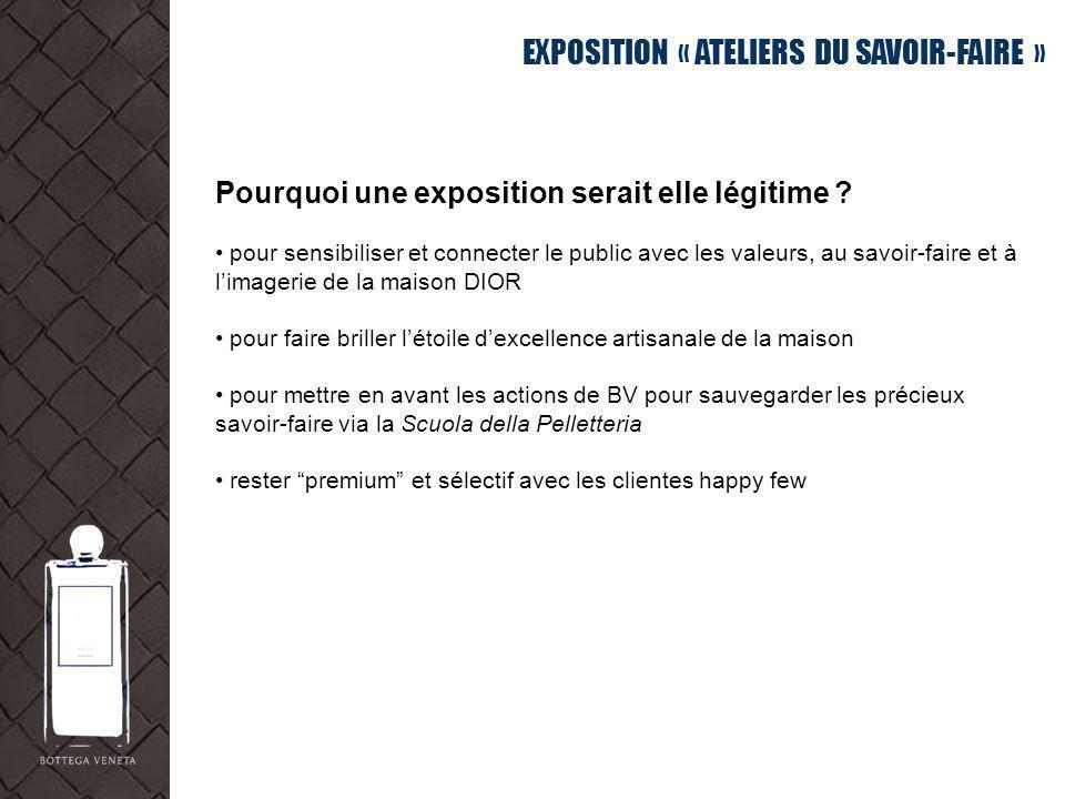 EXPOSITION « ATELIERS DU SAVOIR-FAIRE » Pourquoi une exposition serait elle légitime ? pour sensibiliser et connecter le public avec les valeurs, au s