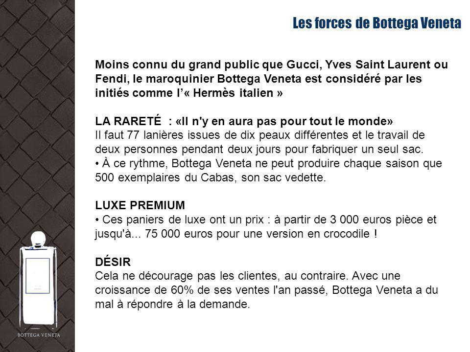 Les forces de Bottega Veneta Moins connu du grand public que Gucci, Yves Saint Laurent ou Fendi, le maroquinier Bottega Veneta est considéré par les i