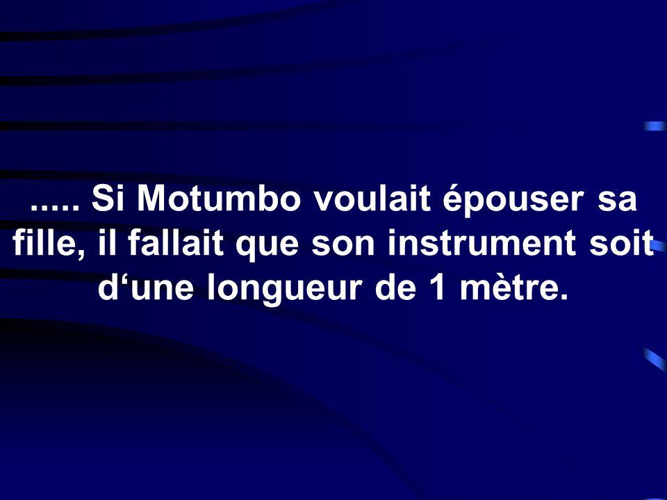 ..... Si Motumbo voulait épouser sa fille, il fallait que son instrument soit dune longueur de 1 mètre.