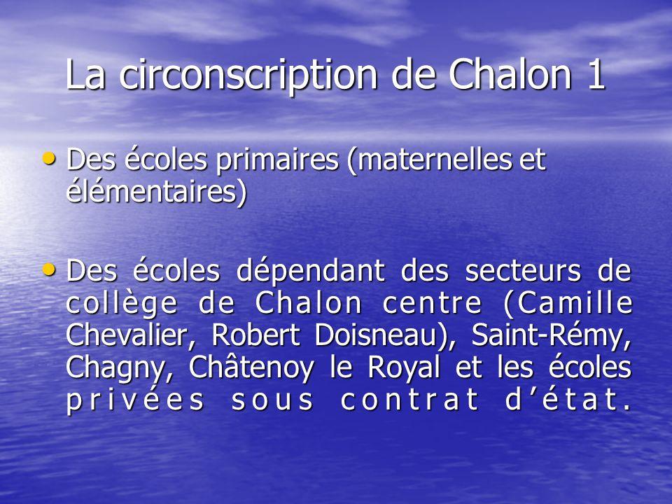 La circonscription de Chalon 1 Des écoles primaires (maternelles et élémentaires) Des écoles primaires (maternelles et élémentaires) Des écoles dépend