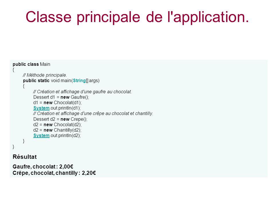 Classe principale de l'application. public class Main { // Méthode principale. public static void main(String[] args) { // Création et affichage d'une