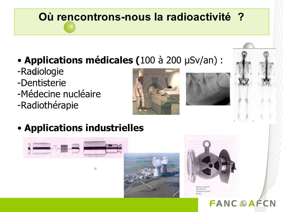 Où rencontrons-nous la radioactivité ? Applications médicales (100 à 200 µSv/an) : -Radiologie -Dentisterie -Médecine nucléaire -Radiothérapie Applica