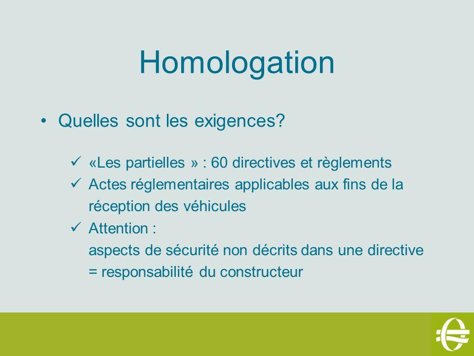 Homologation Quelles sont les exigences? «Les partielles » : 60 directives et règlements Actes réglementaires applicables aux fins de la réception des